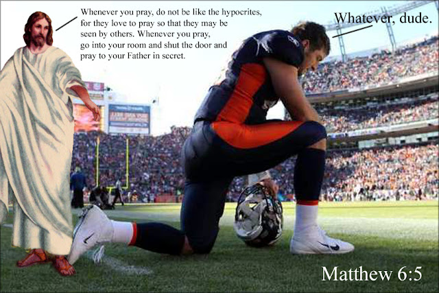 Tim Tebow disagrees with Matthew 6:5