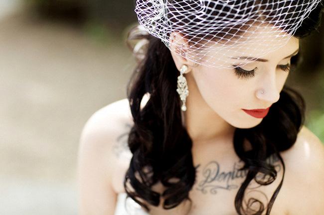 tattoos showing in wedding dress