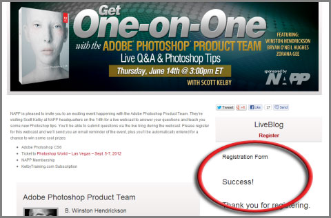 Register for free for One-on-One webcast with Photoshop Product Team