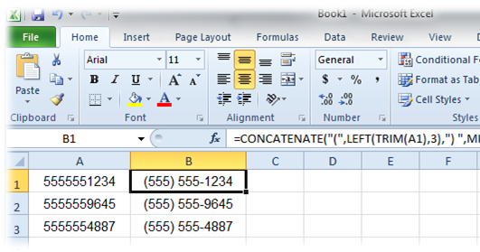 Excel: Format Phone Numbers with Brackets and Hyphens ~ Stacy DuBois' Tech Blog