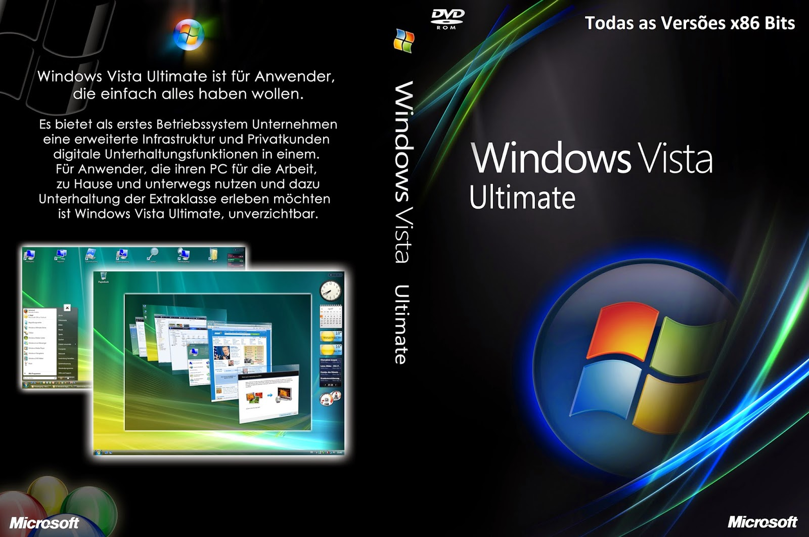 Windows Vista Todas as Versões x86 Bits DVD Capa