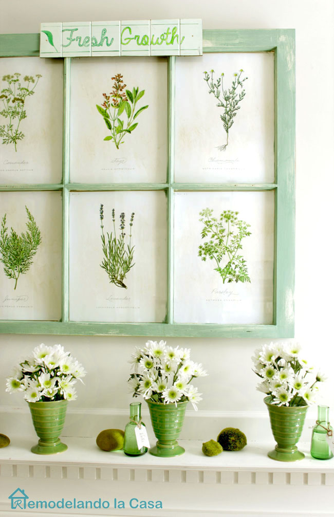 flowers and botanical prints Spring mantel
