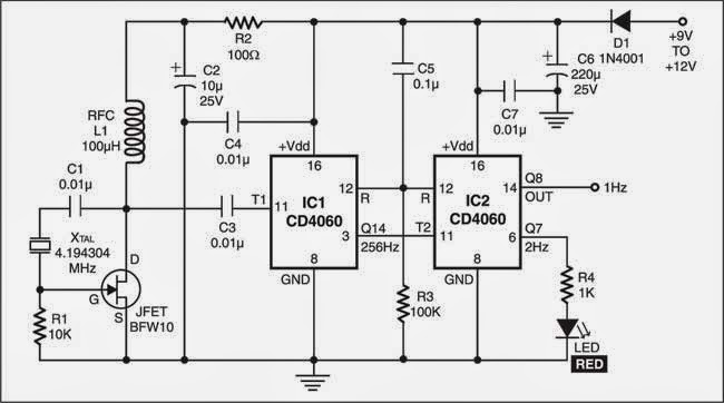 precision 1hz clock circuit diagram