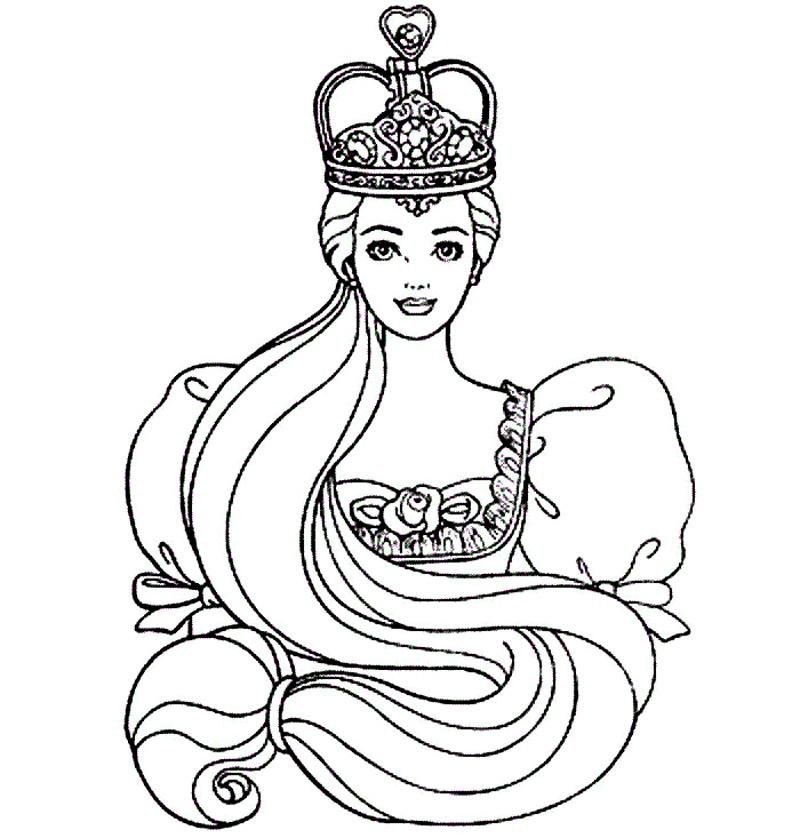 Fisa de colorat cu printesa Rapunzel cu coroana