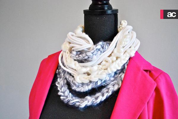 Handmade t-shirt scarf upcycle