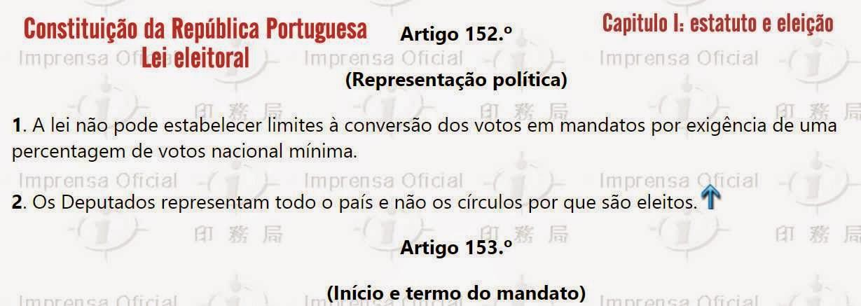 valor voto abstenção mandatos artigo 152