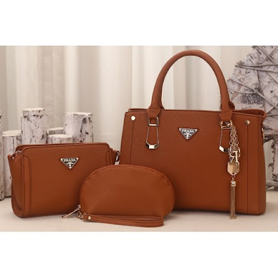 PRADA DESIGNER BAG (3 IN 1 SET) - BROWN