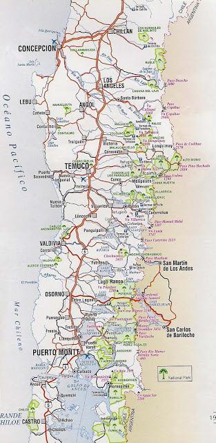 mapa caminero de chile sur