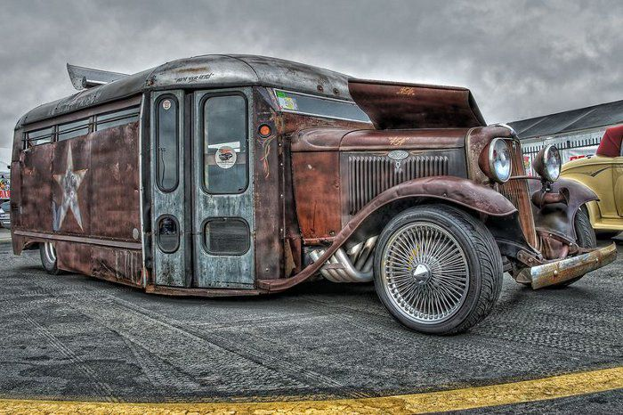 Rat Rod bus from Hell....wire wheels to go.