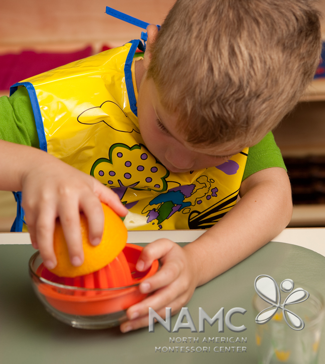 NAMC Montessori Absorbent Mind ch 26 boy using juicer