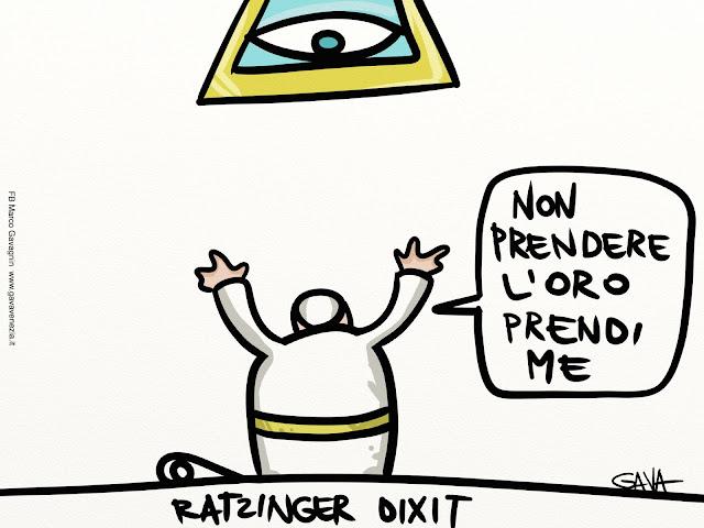 gava gavavenezia vignette satira ridere piangere pensare caricature fumetti papa oro loro prendere prendi ratzinger triangolo ricco povero