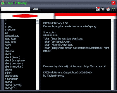 Download Kaijin Dictionary - Software Kamus Jepang-Indonesia
