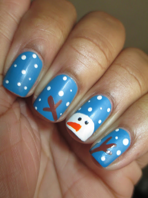 Christmas, Snowman, blue, matte, snow, Julep Annie, nail art, nail design, mani