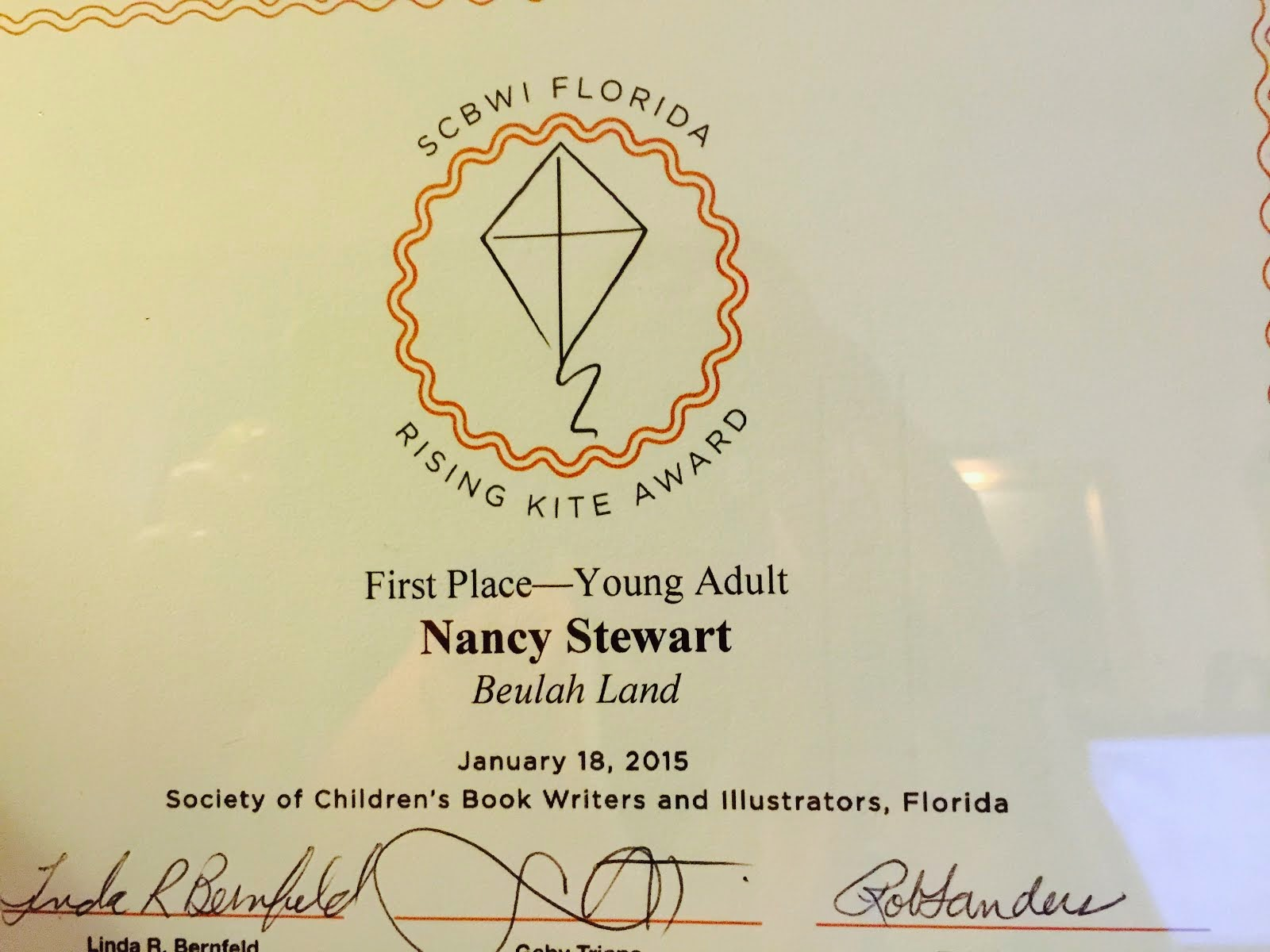 First Place Rising Kite Award-Florida SCBWI