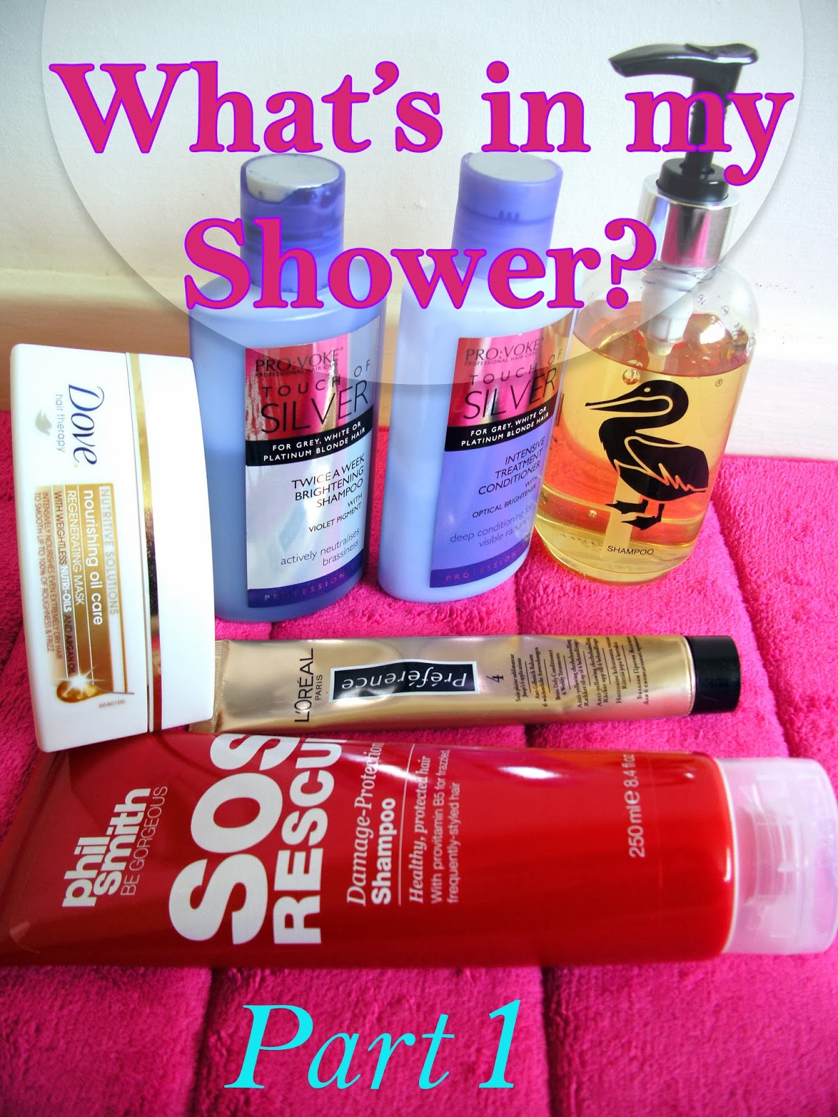 What's in my Shower - Dove Nourishing Oil Care Hair Mask, PRO:VOKE Touch of Silver Twice A Week Brightening Shampoo & Treatment Conditioner, Duck Island Mandarin & Bergamot Shampoo,  Phil Smith SOS Shampoo and L'Oreal Brass Defy Conditioner