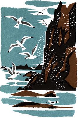 1960s Johan Berle coastal illustration