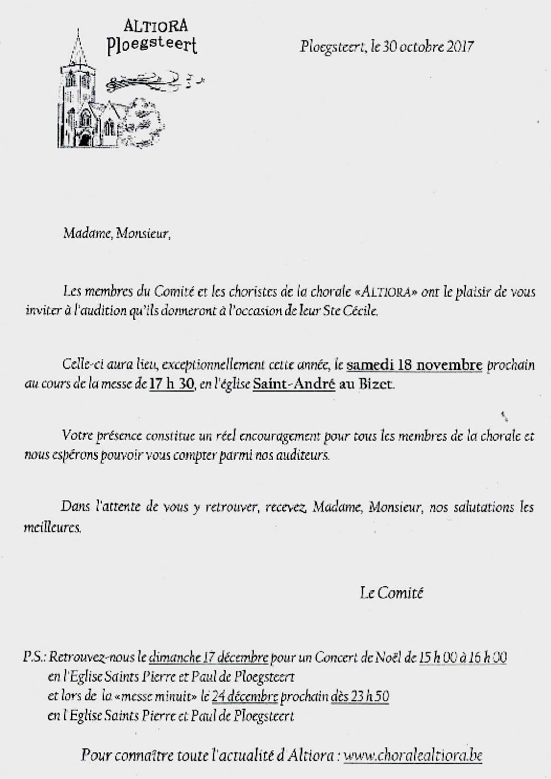 ALTIORA Sainte Cécile samedi 18 novembre