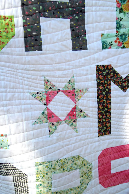 Girls in the Garden - Spell it with Fabric quilt star block