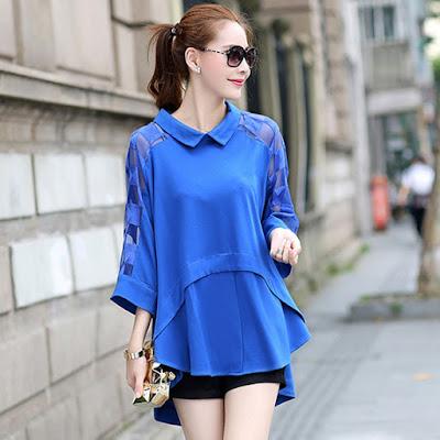 Model Blouse Casual Warna Biru untuk Wanita gemuk