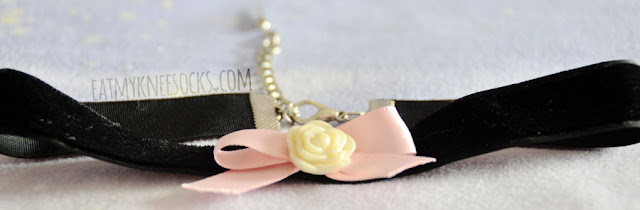 Milkstud sells many adorable, kawaii, Harajuku/pastel goth/soft grunge chokers and accessories, like their new black velvet choker with a ribbon and rose accent.