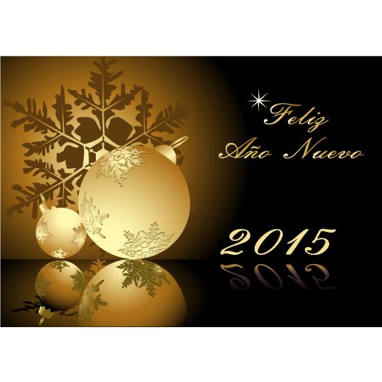 Feliz Año Nuevo 2015 dorado - vector