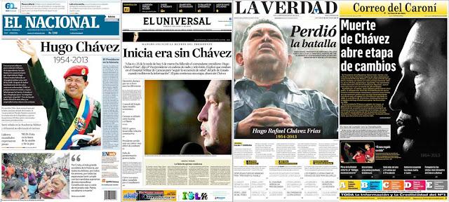 La noticia de la muerte de Chávez en la prensa venezolana