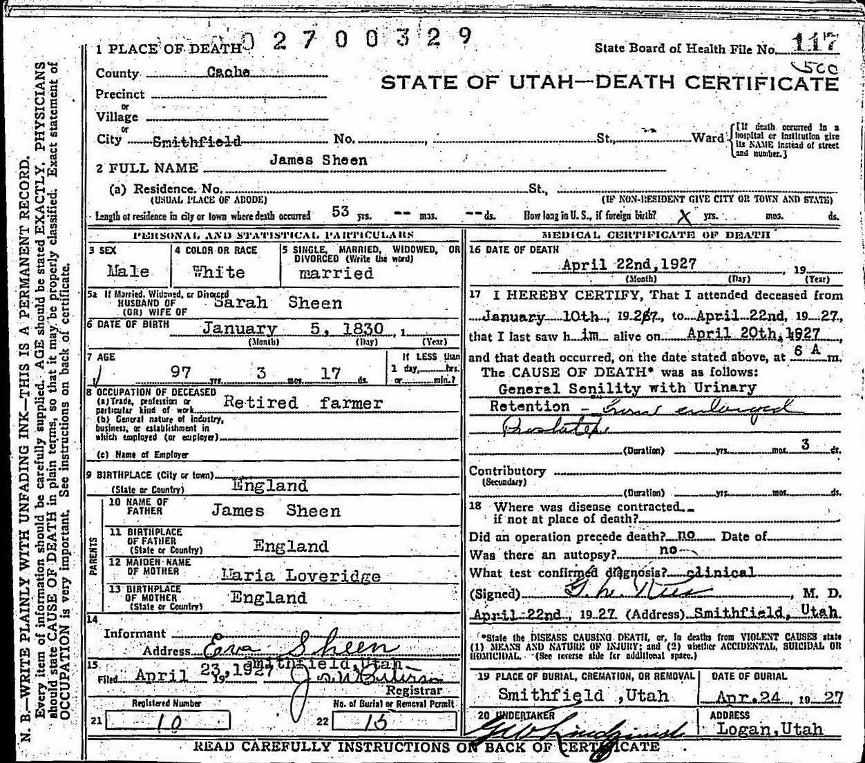 Kindred Spirits James Sheen 1830 1927 Death Certificate