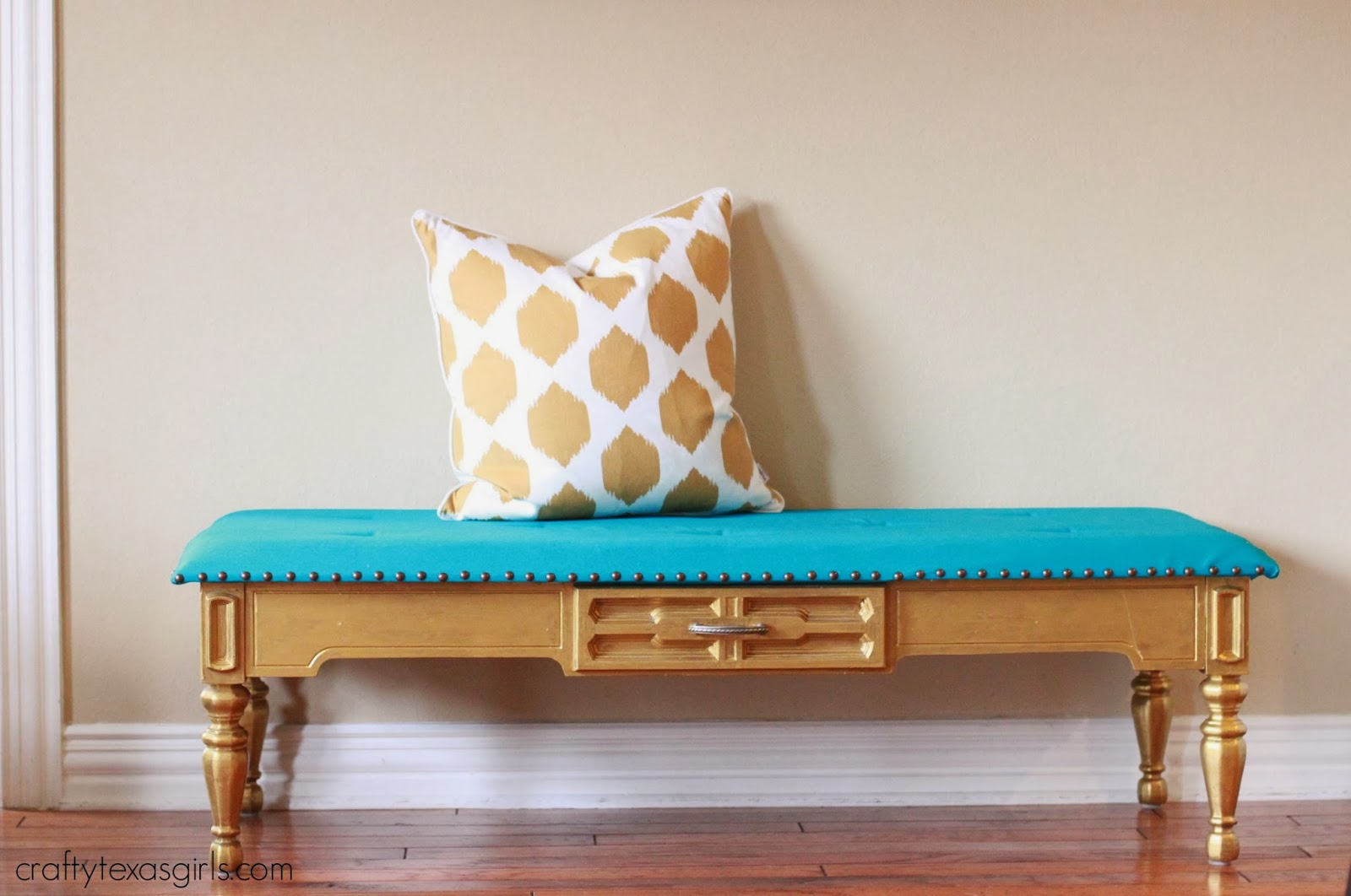 Coffee Table Into A Bench Crafty Texas Girls Turquoise Gold Tufted Bench