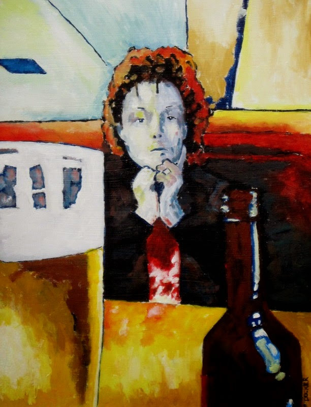 contemporary portrait painting with beer by bruce docker