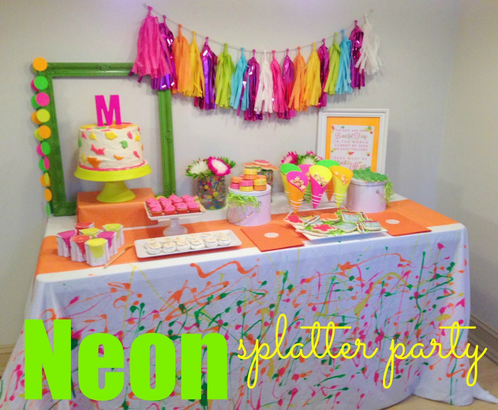 In Flight Party Ideas Neon Splatter