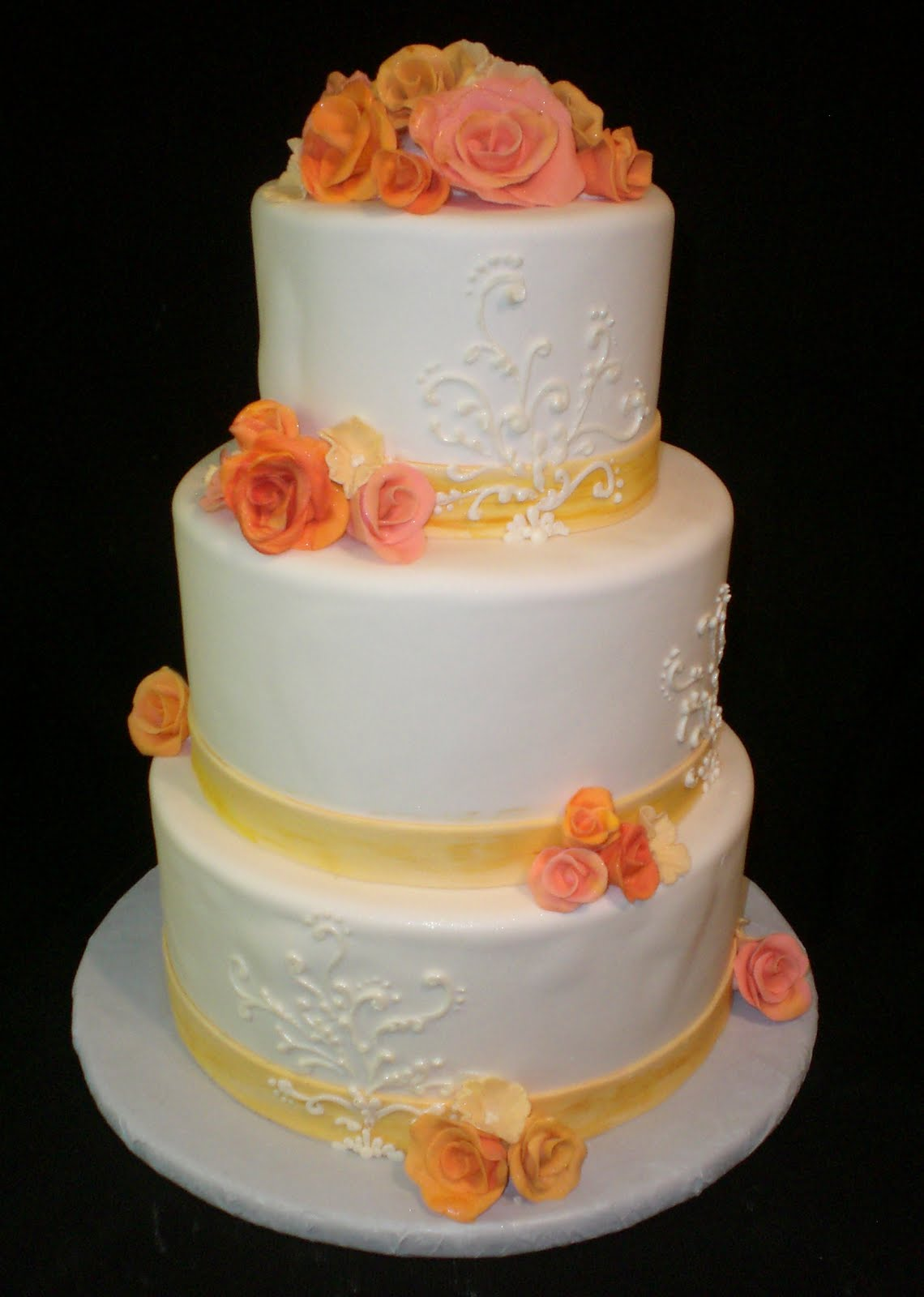 The Crimson Cake Blog Coral And Yellow Flower Wedding Cake