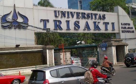 salah satu gerbang masuk kampus universitas trisakti grogol jakarta