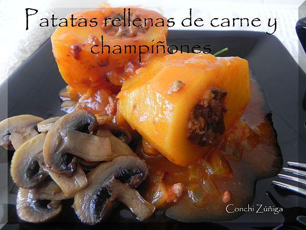 Cocinandosetas patatas rellenas de carne y champi ones for Cocinar patatas rellenas