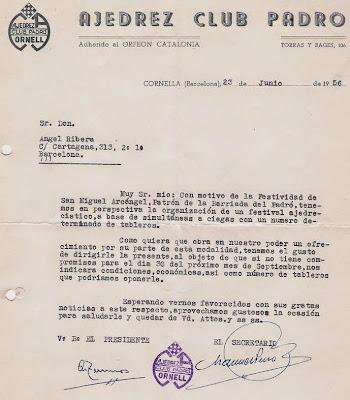 Solicitud a Ángel Ribera para dar unas simultáneas en el Ajedrez Club Padró en 1956