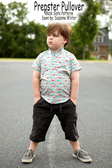 Prepster Pullover Sewing Pattern for boys by Blank Slate Patterns sewn by Suzanne of Pattern Revolution - Melly Sews
