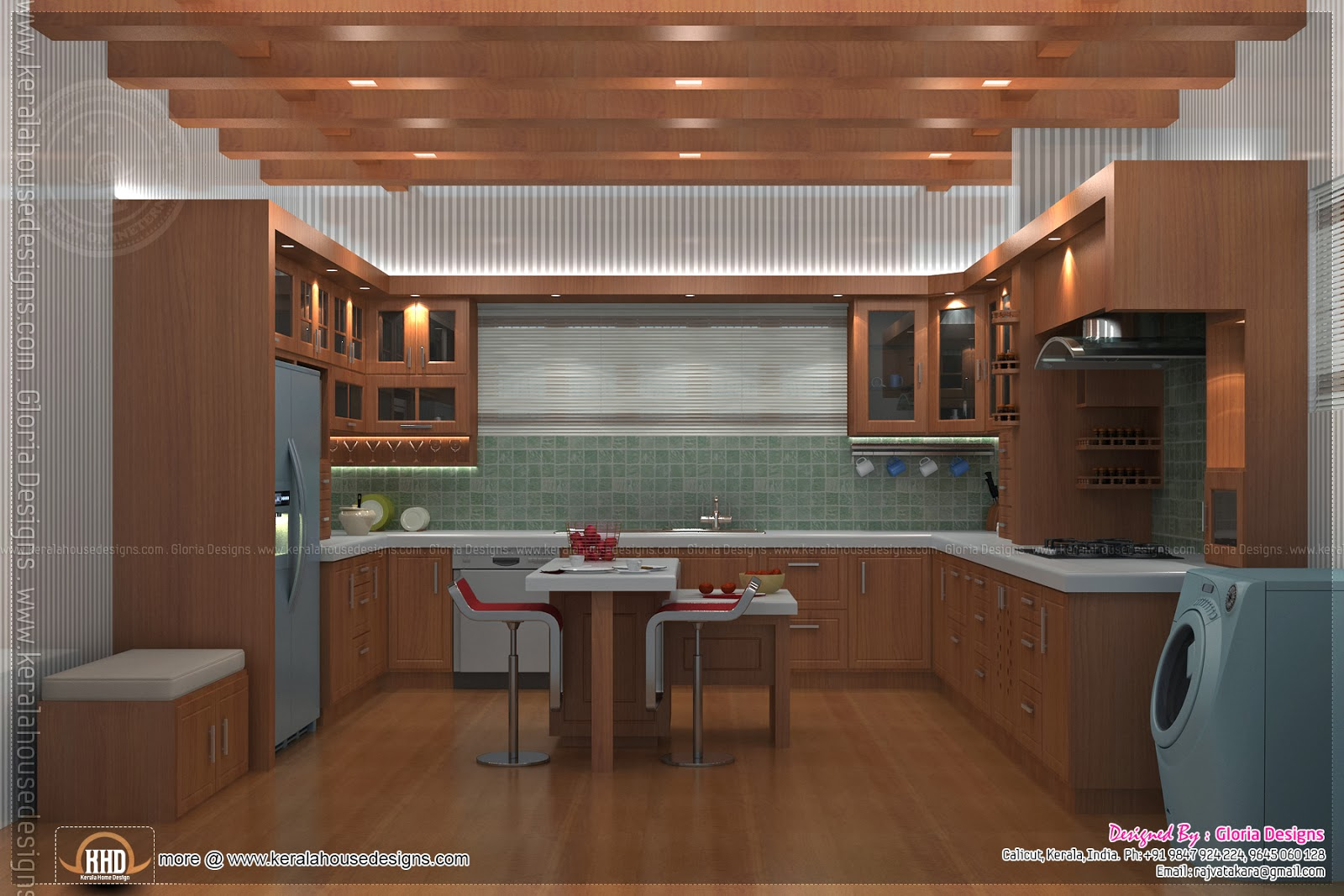 Home interior designs by gloria designs calicut kerala for Kerala style kitchen photos