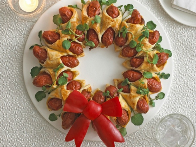 Christmas Food Party Ideas Part - 50: 10-Fun-Christmas-Party-Food-Ideas-hotdogs-wrapped-
