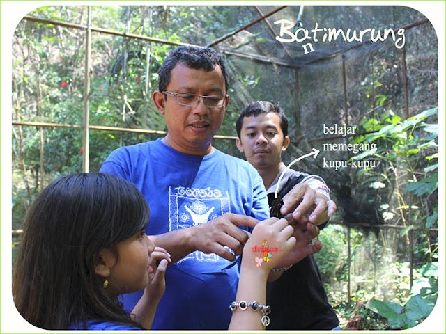 dzilly,belajar memegang kupu di penangkaran kupu maros bantimurung sulawesi selatan