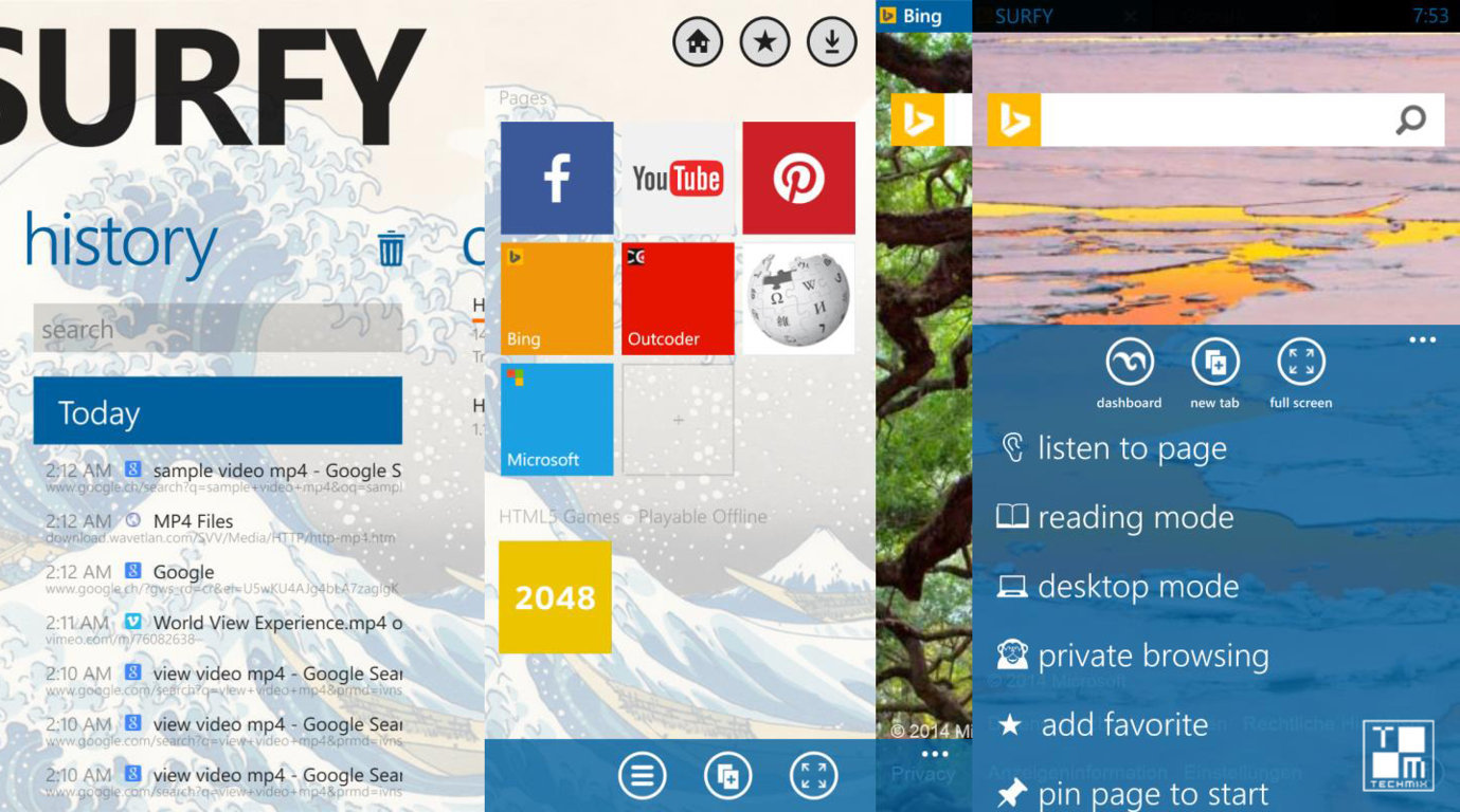 surfy browser by outcoders for windowsphone