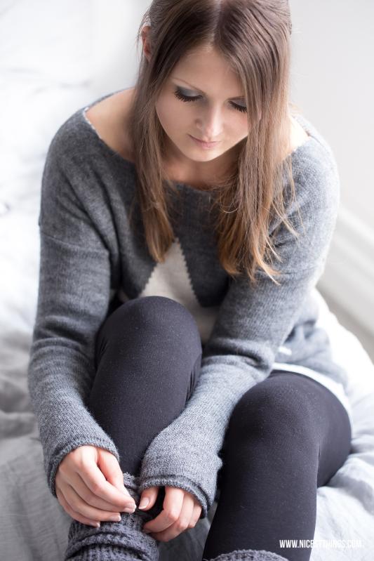 Grey Knit Star Sweater