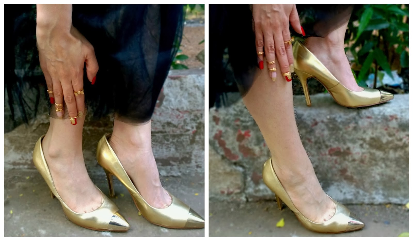 Metallic Gold Aldo Pointed Toe Heels