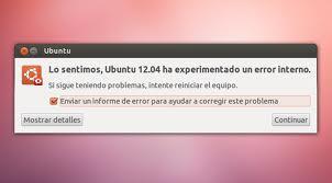 Informe de fallos en Ubuntu, ubuntu error, errores en ubuntu, solucionar errores en ubuntu