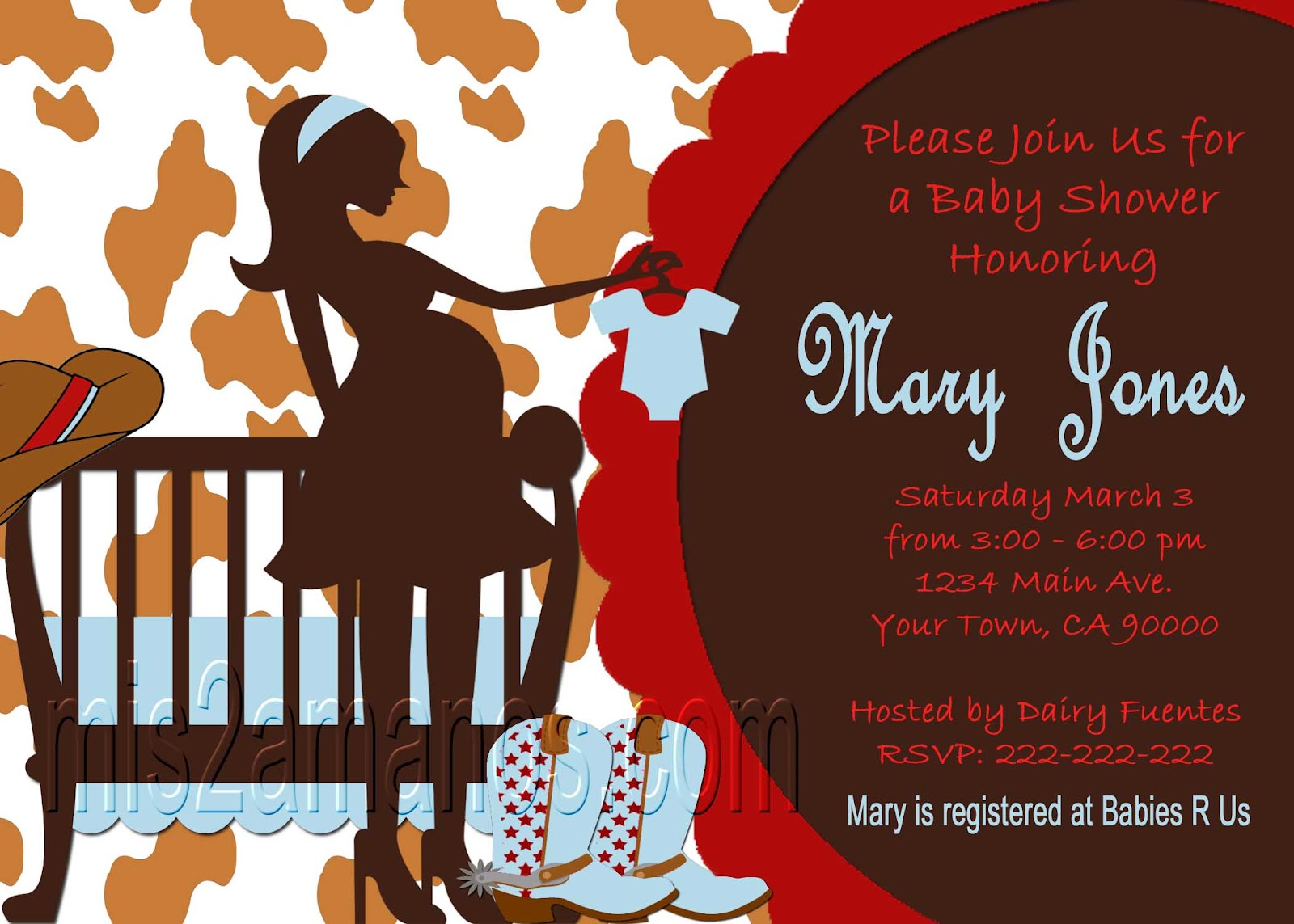 Mis 2 Manos Made by My Hands Western Baby Shower Invites Cowboy