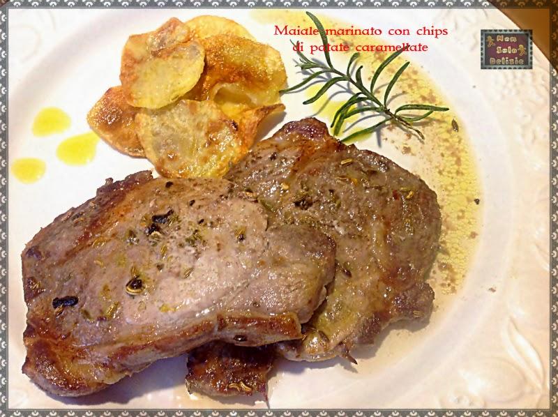 maiale marinato con chips di patate caramellate