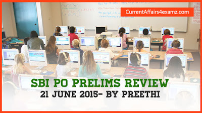 SBI PO Prelims Review 21 June 2015