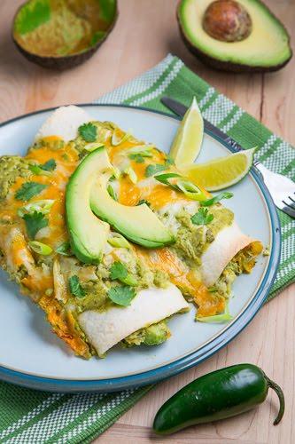 Chicken and Avocado Enchiladas in Creamy Avocado Sauce on Closet ...