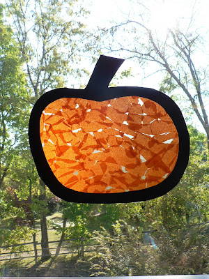 pumpkin tissue paper sun catcher