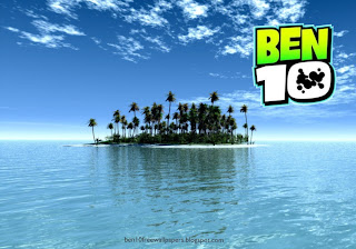 Ben 10 desktop Wallpapers Ben Ten Logo in Paradise Island background