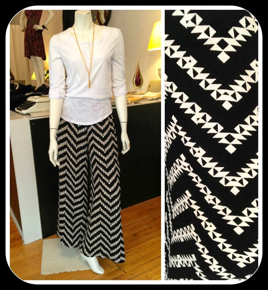 Alternative Apparel Henley top, Sarah Bibb Gemma Palazzo pants, and Nicole Weldon necklace at Folly