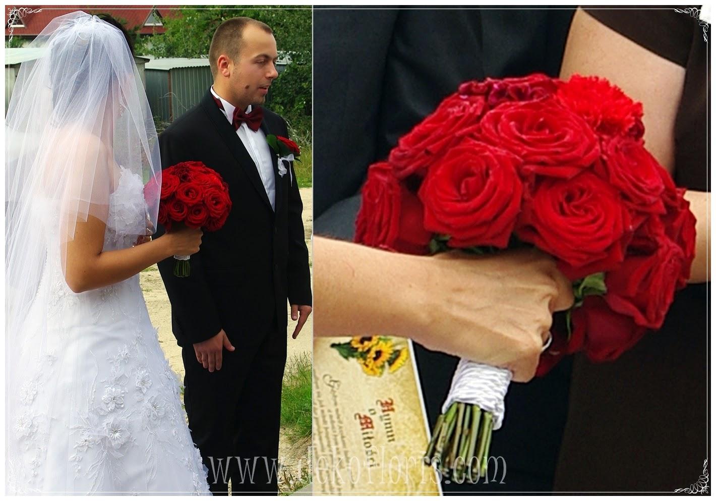 Bukiet ślubny czerwone róże Kłobuck -śląskie ;Dekofloris - bukiety opolskie